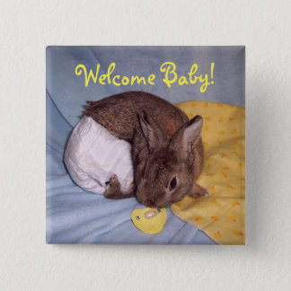 Welcome Baby Bunny Button