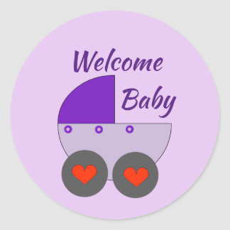welcome baby classic round sticker