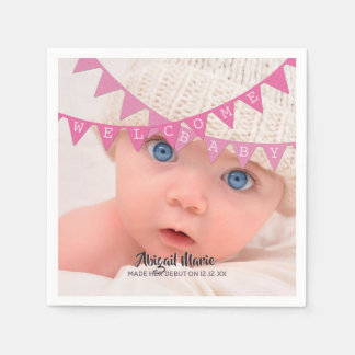Welcome Baby Girl Banners Photo Dated Personalized Disposable Napkin