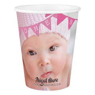 Welcome Baby Girl Banners Photo Dated Personalized Paper Cup