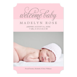 Welcome Baby Girl | Photo Birth Announcement