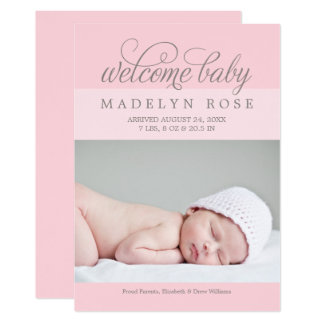 Welcome Baby Girl | Photo Birth Announcement Card