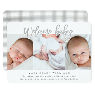 WELCOME BABY-GREY CARD