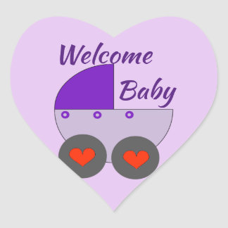 welcome baby heart sticker
