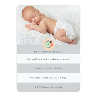 Welcome Baby invitation in grey, coral and mint