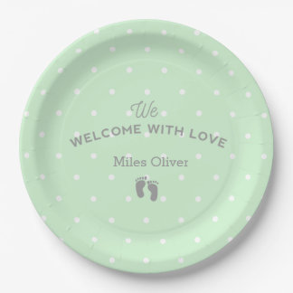 Welcome baby party paper plate