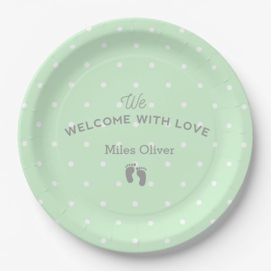 Welcome baby party paper plate 9 inch paper plate
