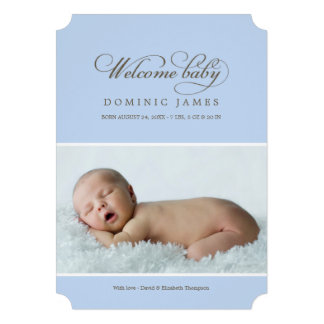 Welcome Baby Photo Birth Announcement Blue Invites