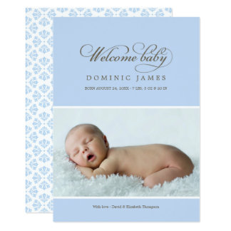 Welcome Baby Photo Birth Announcement Card | Blue