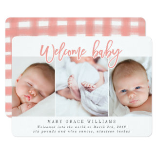 WELCOME BABY-PINK CARD