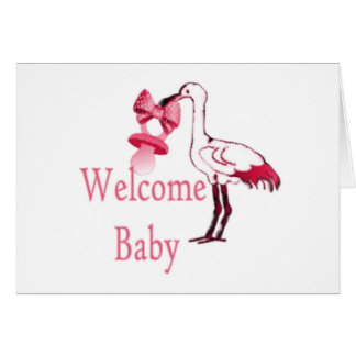 Welcome Baby Pink Greeting Card