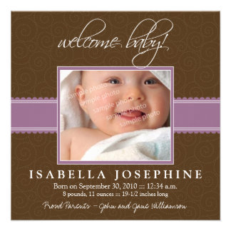 Welcome Baby Purple Ribbon Birth Announcement