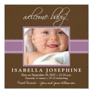 Welcome Baby! Purple Ribbon Birth Announcement