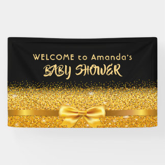 Welcome Baby Shower chic black with faux gold bow Banner
