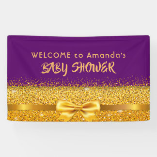 Welcome Baby Shower violet with faux gold bow Banner