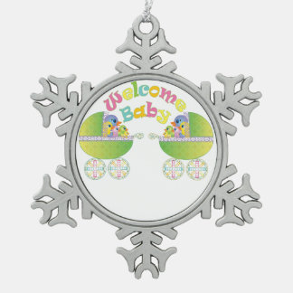 Welcome Baby Snowflake Pewter Christmas Ornament