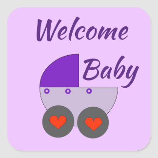 welcome baby square sticker