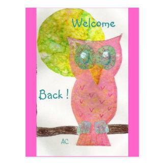 Welcome back ! pink owl postcard (4)
