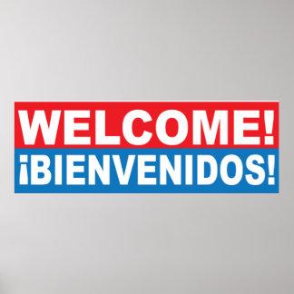 Welcome Bienvenidos English Spanish Banner Poster