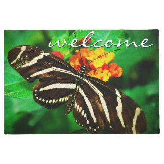 """""""Welcome"""" black & white butterfly photo doormat"""