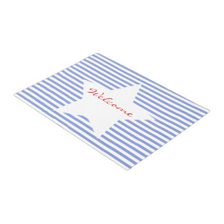 Welcome | Blue Stripes & White Star Door Mat