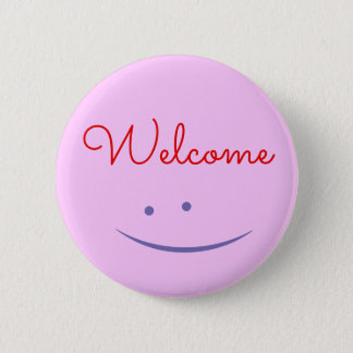 """Welcome"" Button + Smiling Face"