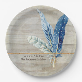 Welcome Cabin Decor Wood Fence Board w Feather Paper Plate