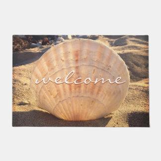 """Welcome"" California Sandy Beach Seashell Photo Doormat"