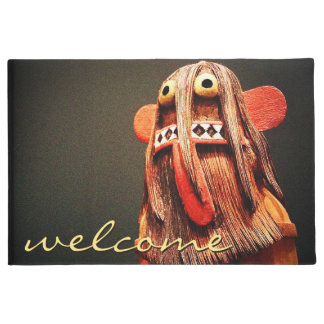 """""""Welcome"""" cute fun silly hairy face photo doormat"""