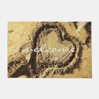 """Welcome"" Cute Heart Drawn in Golden Sand Photo Doormat"