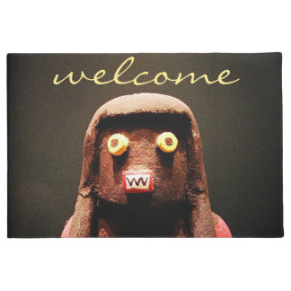 """""""Welcome"""" cute little fun silly face photo doormat"""