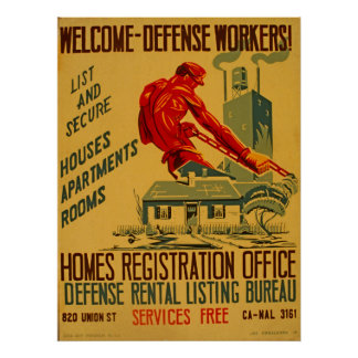 Welcome Defense Workers Vintage 1941 WPA Poster