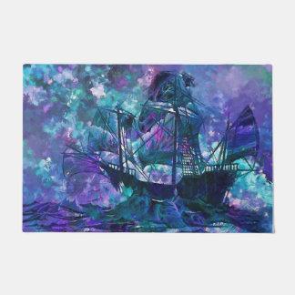 welcome door mat abstract purple aqua ship