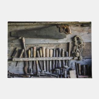 welcome door mat antique vintage wood tools