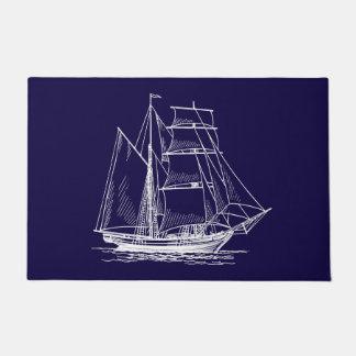 welcome door mat Blue sail boat ship nautical