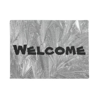 """Welcome"" Door Mat with Intricate Frost Design"