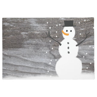 welcome door rustic Christmas snowman Doormat