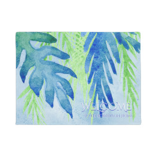 Welcome Family Name Modern Tropical Leaf Leaves Doormat