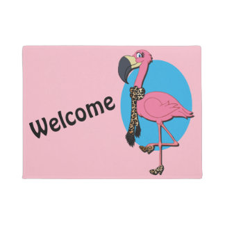 "Welcome Fancy Flamingo 18"" x 24"" Door Mat"