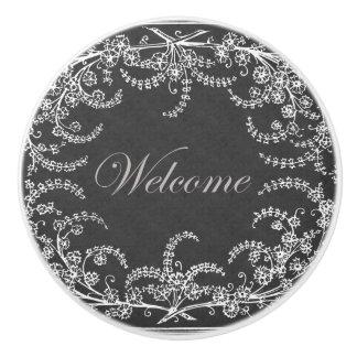 Welcome Flower and Leaf Chalkboard Ceramic Knob