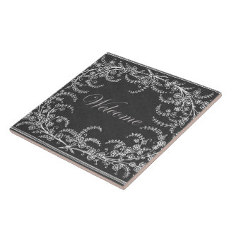 Welcome Flower and Leaf Chalkboard Ceramic Tiles