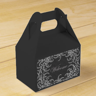Welcome Flower and Leaf Chalkboard Favor Boxes