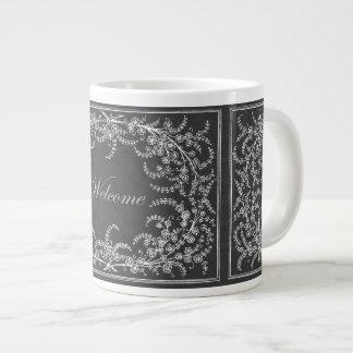 Welcome Flower and Leaf Chalkboard Giant Coffee Mug