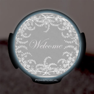 Welcome Flower and Leaf Chalkboard LED Window Decal