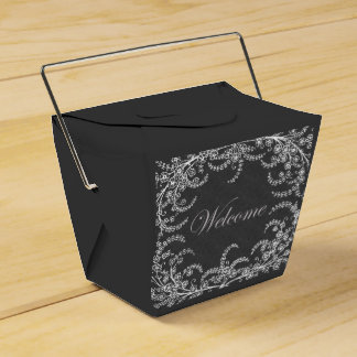 Welcome Flower and Leaf Chalkboard Party Favor Box