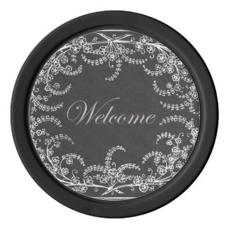 Welcome Flower and Leaf Chalkboard Poker Chips