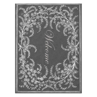 Welcome Flower and Leaf Chalkboard Tablecloth
