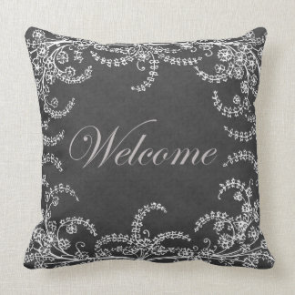 Welcome Flower and Leaf Chalkboard Throw Pillow