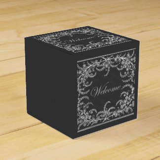 Welcome Flower and Leaf Chalkboard Wedding Favor Box