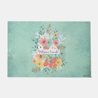 Welcome Friends Flowers On Blue Door Mat